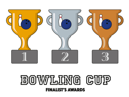 Bowling Cup Finalists Awards in Gold, Silver and Bronze Vector Symbols Illustration