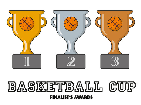 finalists: basketball Cup Finalists Awards in Gold, Silver and Bronze Vector Symbols Illustration