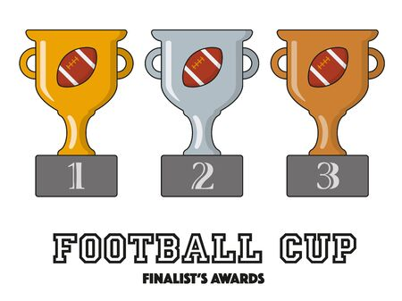 American Football Cup Finalists Awards in Gold, Silver and Bronze Vector Symbols