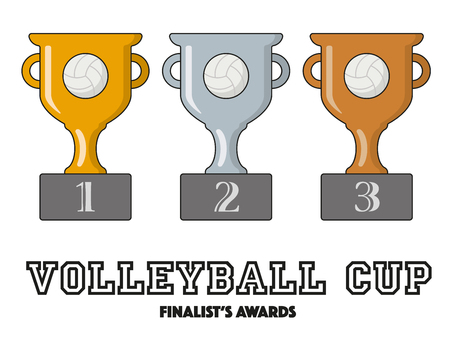 finalists: Volleyball Cup Finalists Awards in Gold, Silver and Bronze Vector Symbols