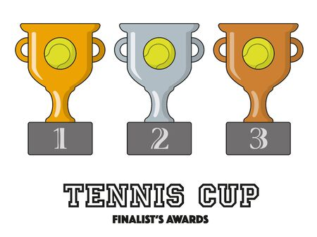 tennis Cup Finalists Awards in Gold, Silver and Bronze Vector Symbols Illustration