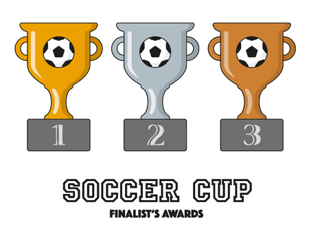 Soccer Cup Finalists Awards in Gold, Silver and Bronze Vector Symbols Illustration