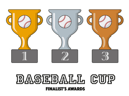 Baseball Cup Finalists Awards in Gold, Silver and Bronze Vector Symbols Illustration