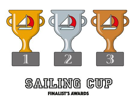 Sailing Cup Finalists Awards in Gold, Silver and Bronze Vector Symbols Illustration
