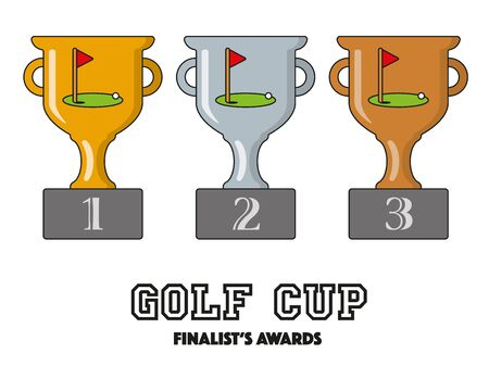 Golf Cup Finalists Awards in Gold, Silver and Bronze Vector Symbols Illustration