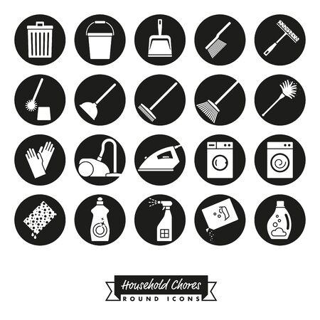 Colección de 20 tareas domésticas Iconos negativos en círculos