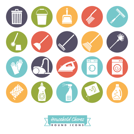 Collection of 20 Household Chores round negative color Icons