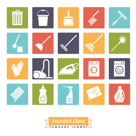 Collection of 20 Household Chores Icons  negative in colored squares