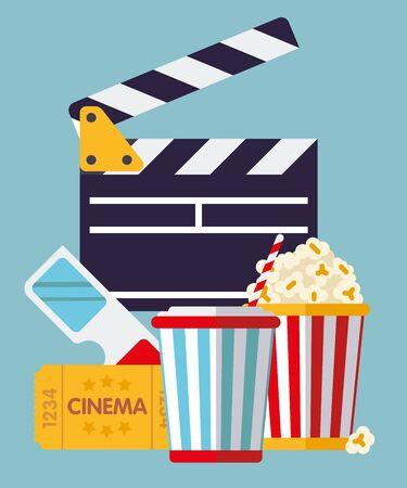 softdrink: Cinema Symbols - clapper, ticket, goggles, softdrink and popcorn flat design illustration
