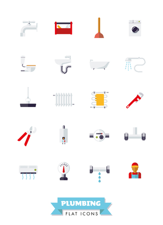 Collection of plumbing and sanitary facilities flat design icons on white background