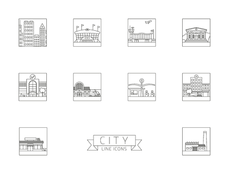 Variety of urban buildings  and facilities square line icons