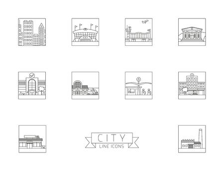 Verscheidenheid van stedelijke gebouwen en faciliteiten vierkant lijn iconen