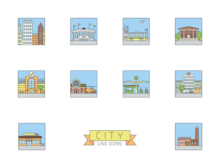 Variety of urban buildings and facilities square line icons with pastel color fill Illustration