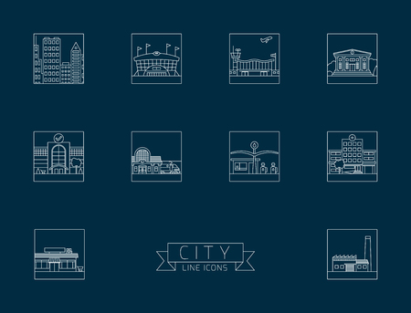 Variety of urban buildings  and facilities square line icons. Blueprint style.