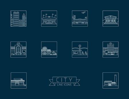 Verscheidenheid van stedelijke gebouwen en faciliteiten vierkant lijn iconen. Blauwdrukstijl.