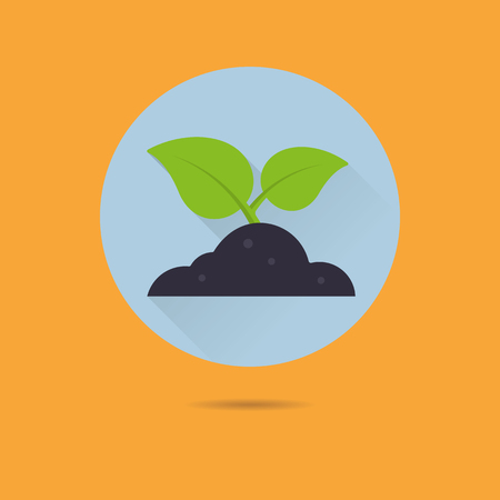 sprouting plant in heap of soil flat design long shadow vector icon