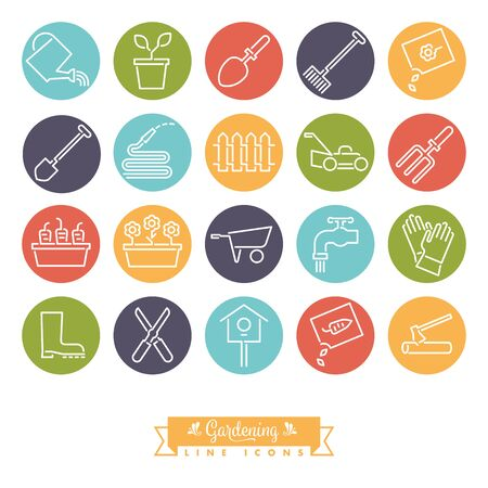 Vector collection of 20 round colored gardening line icons