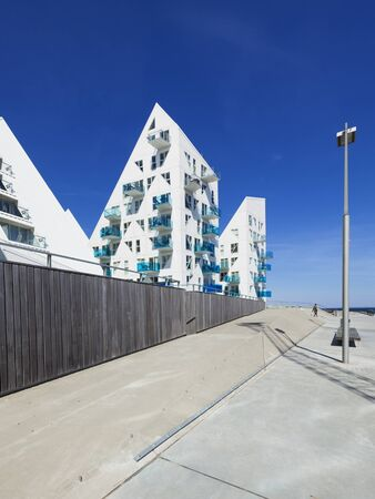 Aarhus, Denmark - May 2, 2017: Contemporary residential architecture at newly developed harbor area. The complex is called