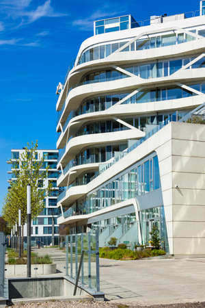 Aarhus, Denmark - May 2, 2017: Contemporary residential highrise buildings at newly developed harbor area.