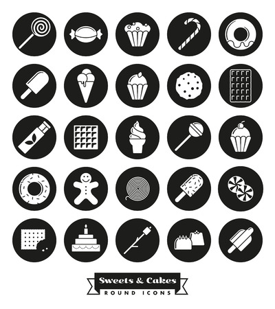sweets, cakes, candy vector glyph icon collection, negative in black circles Ilustracja