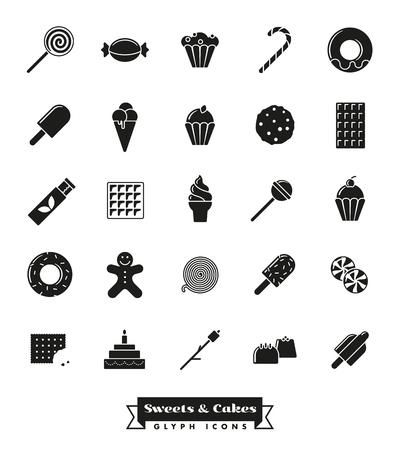 Süßigkeiten, Kuchen, Süßigkeiten Vektor Glyph Icon Sammlung Standard-Bild - 79837701