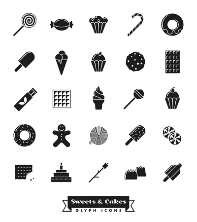 sweets, cakes, candy vector glyph icon collection