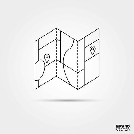 折りたたみ式の地図行アイコン ベクトル