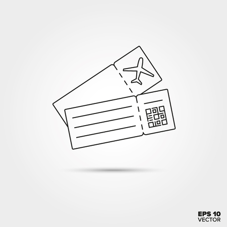 qrcode: Airline boarding pass Line Icon Vector