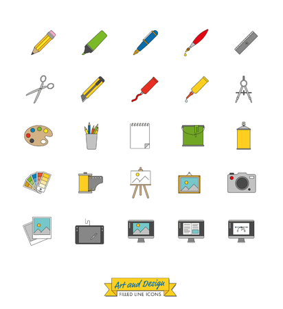 paint can: Collection of art, design and publishing symbols, filled line icon style Illustration