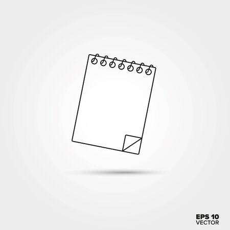 Schetsblok of notitieblok Lijn pictogram Vector Stock Illustratie