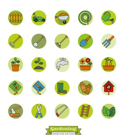 ladder  fence: Collection of gardening vector icons, filled outline style in green dots