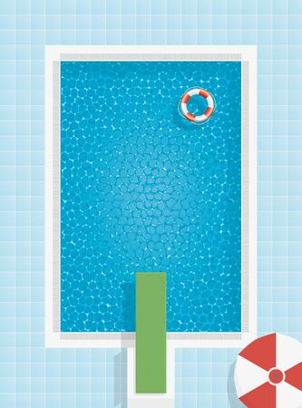 Swimming pool with life buoy, parasol and springboard