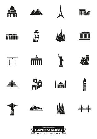 Collezione di icone Glyph di punti di riferimento internazionali Archivio Fotografico - 81304170