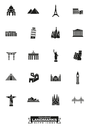 Glyph icons collection of international landmarks