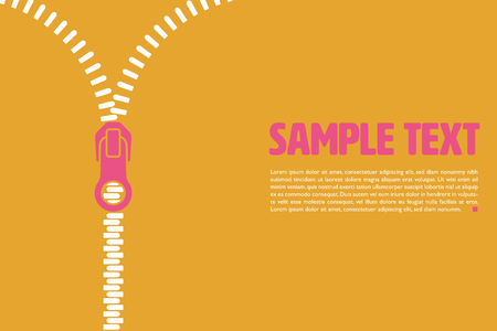 Graphic vector template with half opened zipper and sample text on ochre background