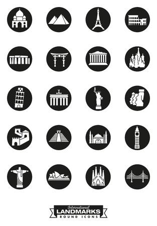 Round black icons collection of international landmarks