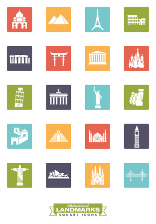 hagia sophia: Square color icons collection of international landmarks
