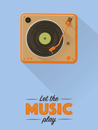 Flat design music poster with vintage turntable