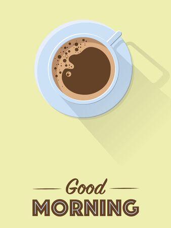 Flat design good morning coffee poster