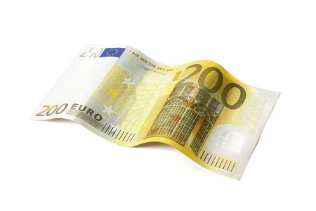 Two-hundred Euros bill laid in wave shape isolated with clipping path on white background 版權商用圖片