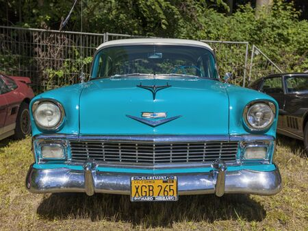 Stade, Germany - July 9, 2017: A vintage Chevrolet Bel Air from 1956 at Summer Drive US car meeting.