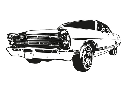 Silhouette of vintage American Muscle Car from the 1960s Ilustração