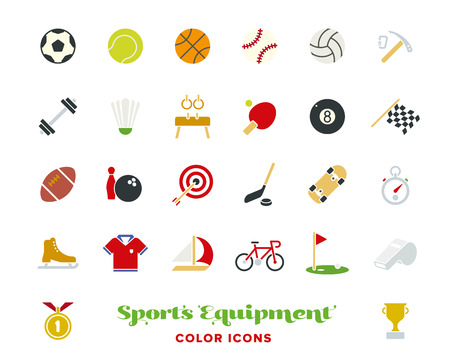 Collection of 25 sports and gymnastics color vector icons on white background Illustration