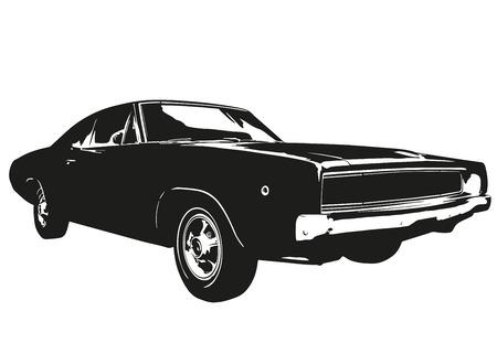 american car muscle silhouette vintage