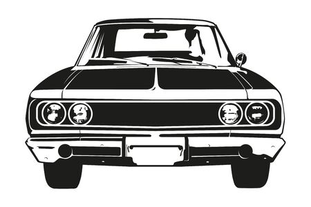 Front view silhouette of vintage american muscle car