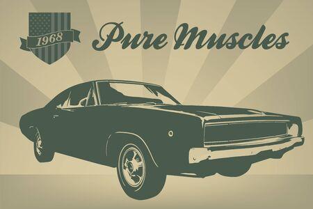 ビンテージ スタイルの 1968 年からアメリカ筋肉車ポスター  イラスト・ベクター素材