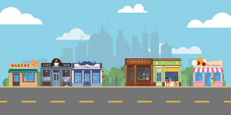 Shops and venues on suburban main street vector illustration