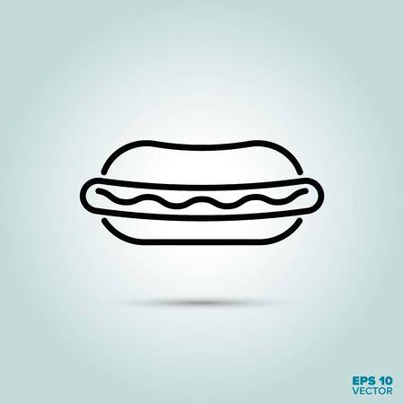 Hot Dog Line Icon Vector