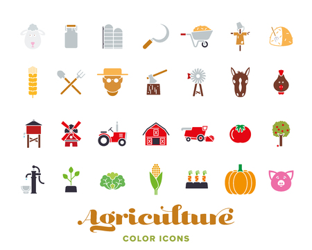 Set of 28 agriculture color icons