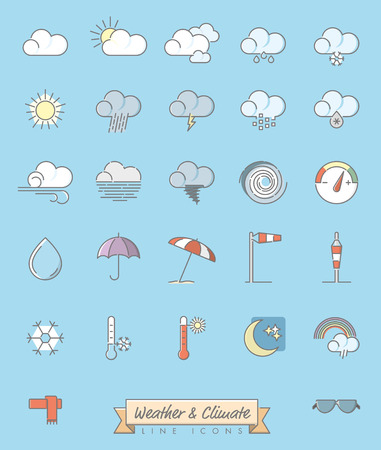 Collection of 27 weather, climate and meteorology related symbols, gray outline and pastel color fill